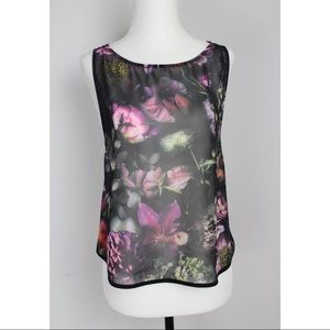 Ted Baker Sheer Floral Top with Open Back